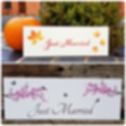 'Just Married' signs - a pretty wedding decoration. Perfect for fastening to the back of the wedding car, hanging on the chairs of the happy couple at the reception or as a prop for photographs
