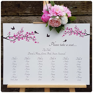 Featuring branches of pretty cherry blossom and the silhouettes of brown birds, this romantic design is perfect for wedding signs for your spring wedding