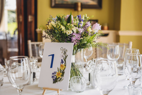 Table numbers for a spring wedding