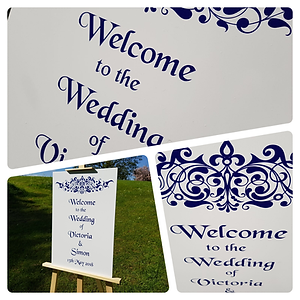 Regency-style wedding signs to welcome your guests. Available  in any shade to suit your theme and colour scheme