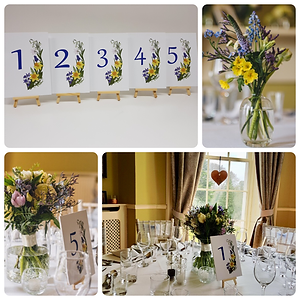 Spring flowers on table numbers with a matching table plan for a beautiful wedding breakfast