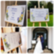 Unique wedding signs with a bespoke floral design with blue, yellow and violet. Perfect for a spring wedding