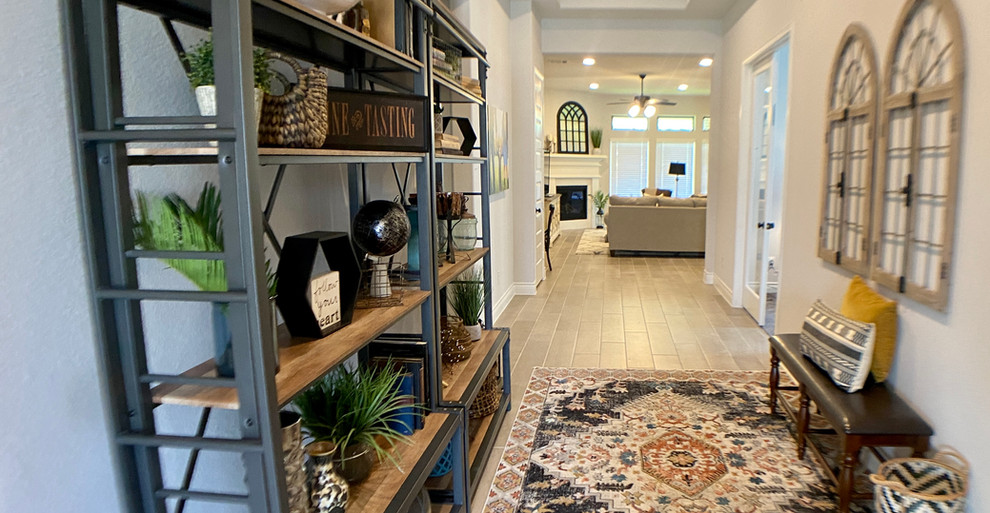 Enormous entryway design with shelves