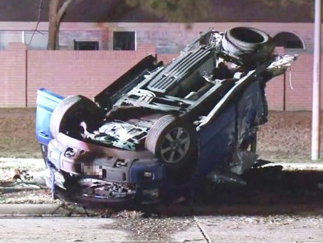 Rollover Crash in Cinco Ranch Injures Two and Nearly Splits Truck in Half