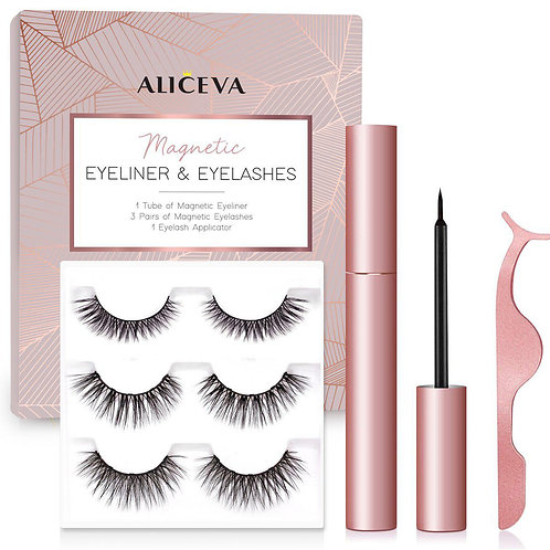 Magnetic Eyeliner and Lashes by Aliceva, 3 Pairs Reusable Magnetic Eyelashes