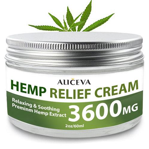 Aliceva Hemp Relief Cream (3600 Mg) - Effective Hemp Extract Cream for Muscle, J