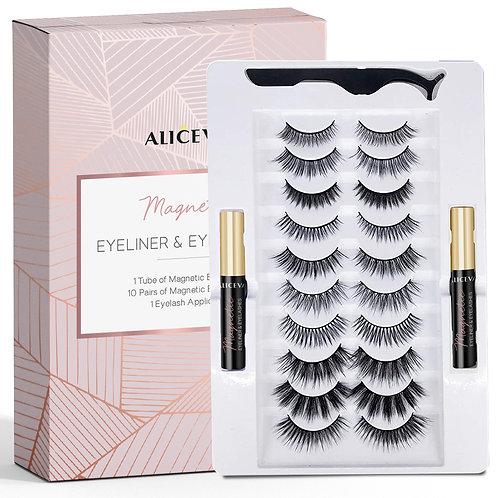 Magnetic Eyeliner and Eyelashes Kit, 10 Pairs Reusable