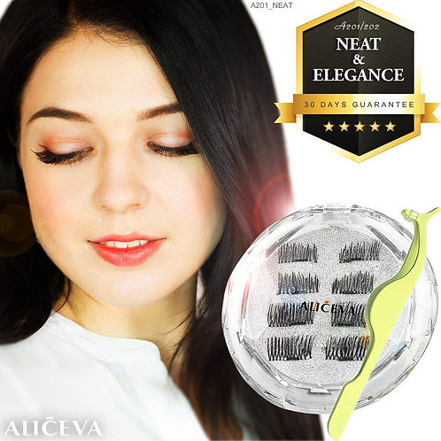 Aliceva Magnetic Eyelashes x8 [Neat & Elegance] for Natural Look