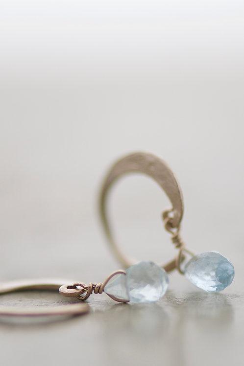 earrings lunetta with aquamarine