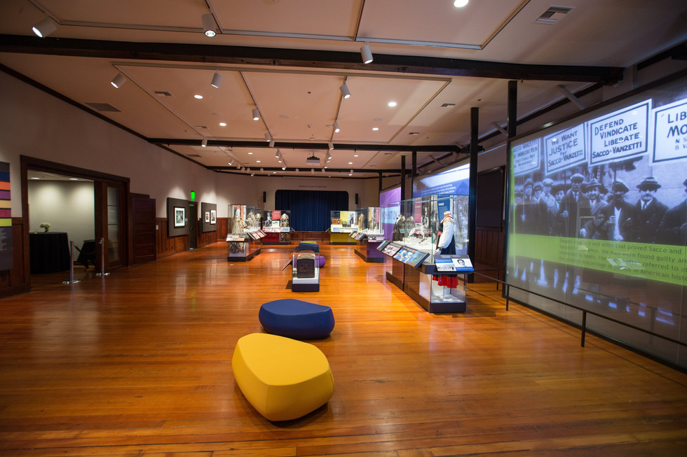 Videos are projected on smart glass that goes clear in between presentations to reveal historic windows.