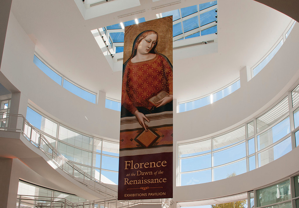 Large promotional banner hung in the Museum Entrance Hall.