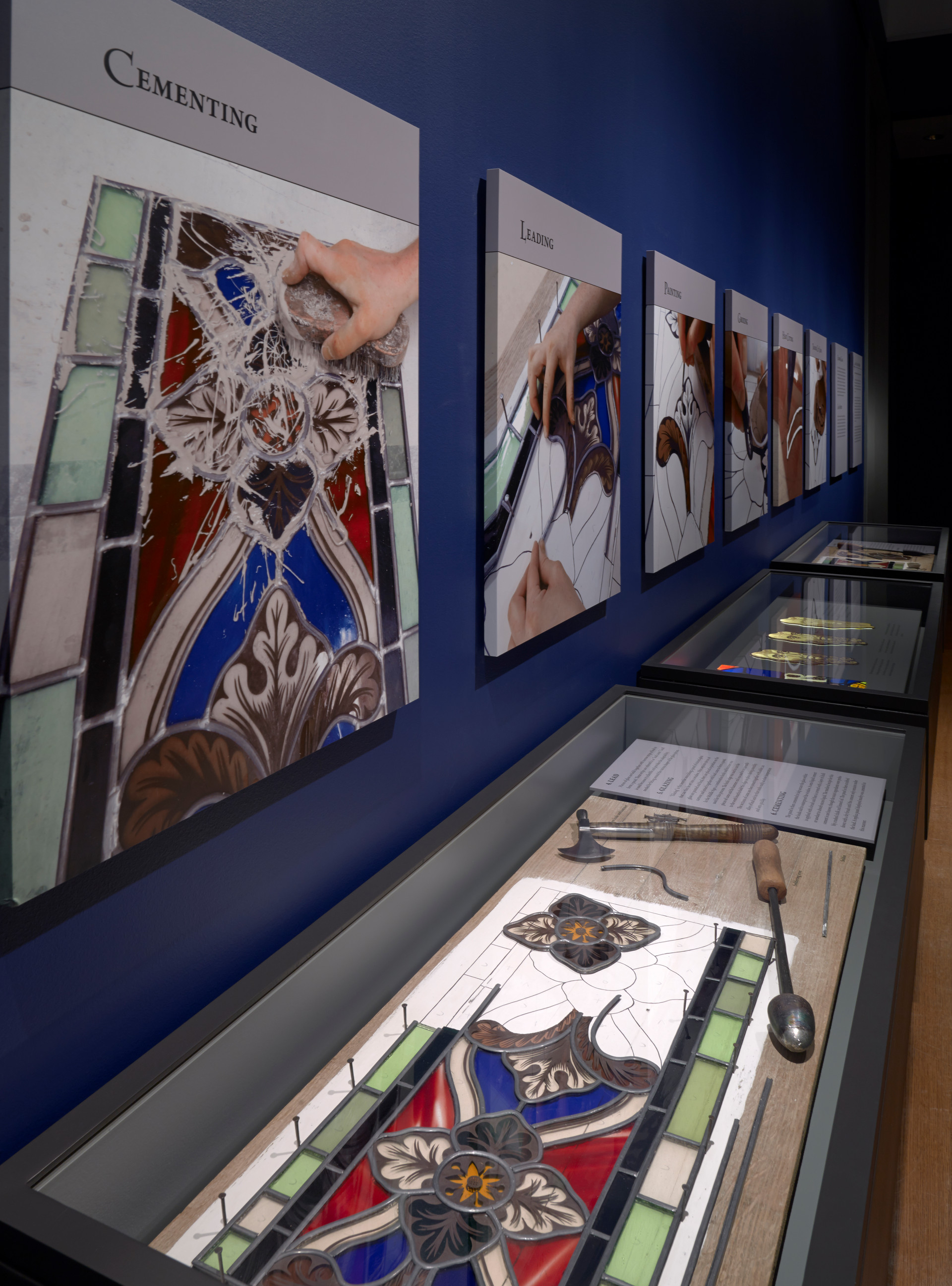 The latter half of the exhibition was devoted to  illustrating how medieval stained glass was made.