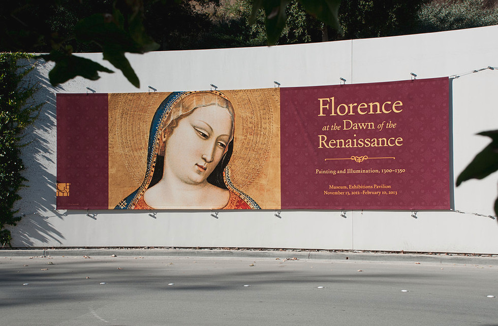 Exhibition banner at the Getty Center entrance.