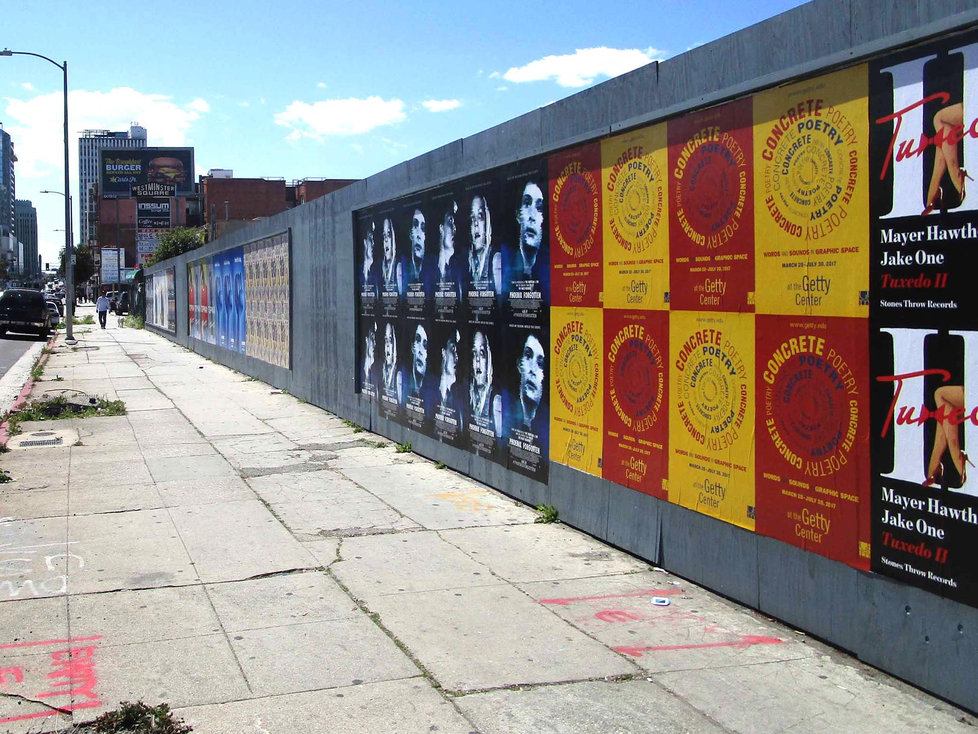 Wild postings promoting the exhibition around Los Angeles.