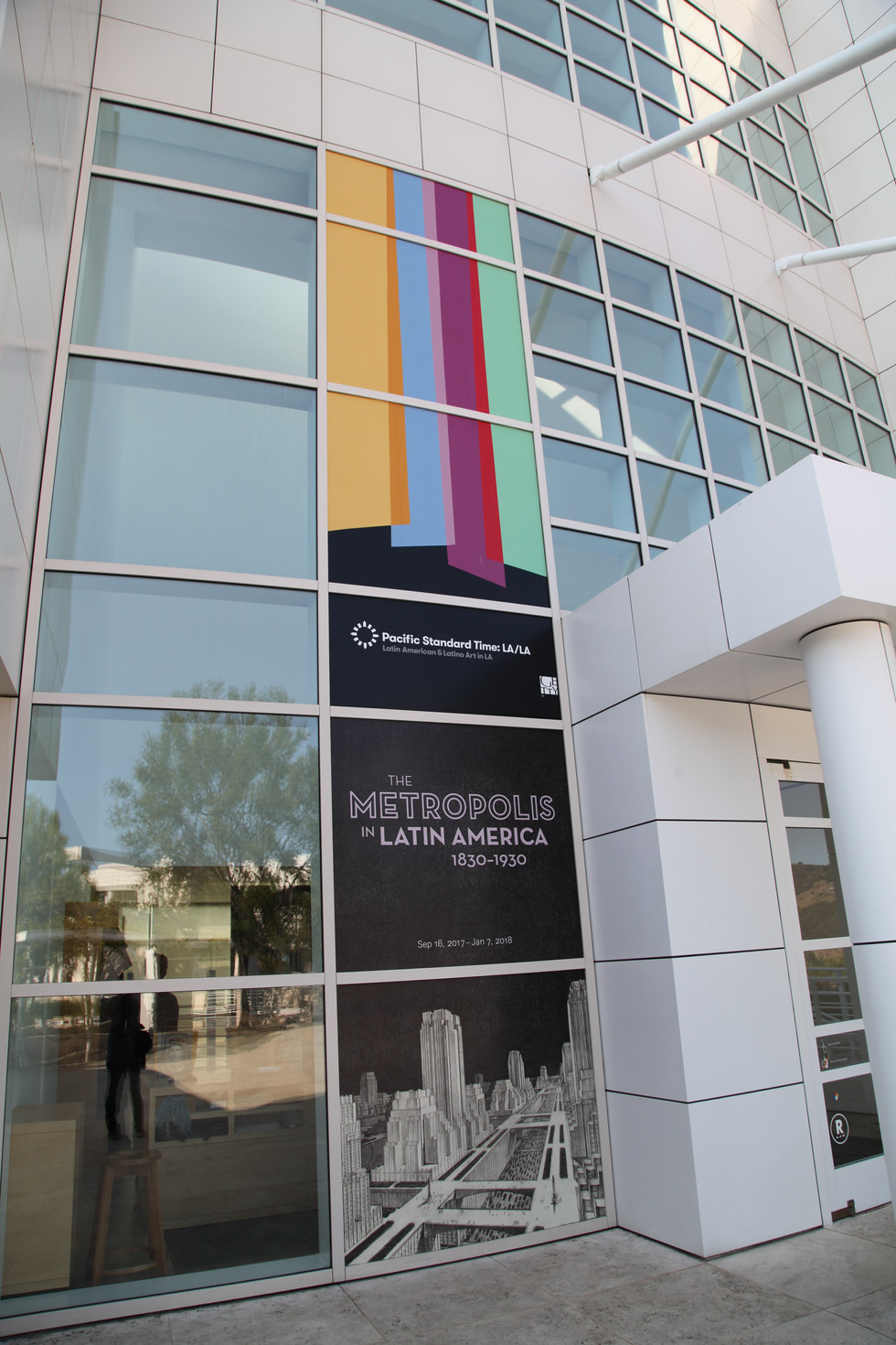 Getty Research Institute facade branded with the PST LA/LA and exhibition graphic identity.