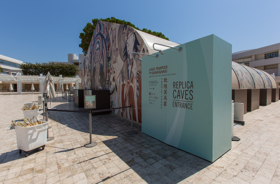 Graphic identity was carried through all aspects of the exhibition including the replica cave structure on the Getty Tram Arrival Plaza.