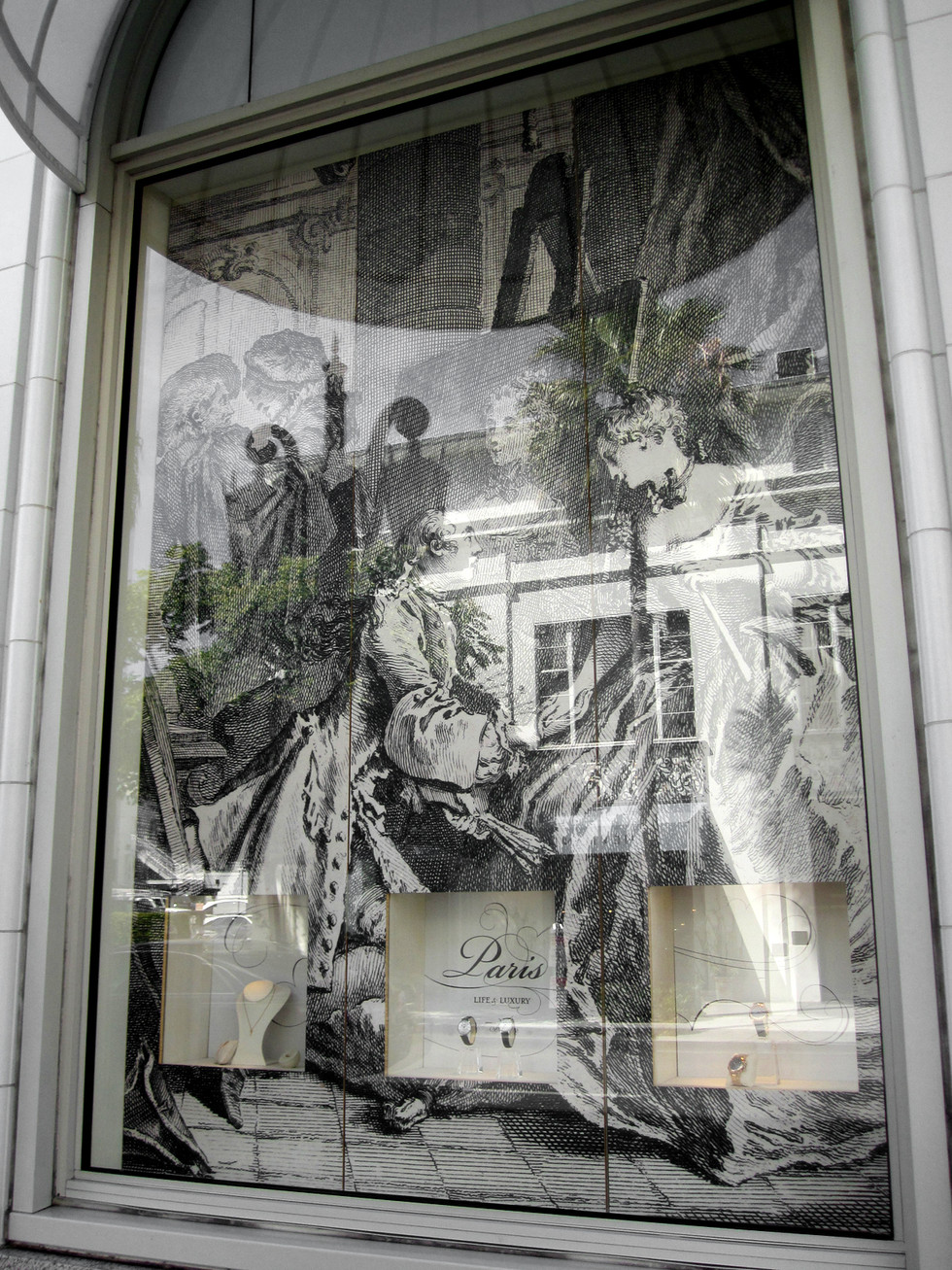 Designs for the display windows for the Breguet flagship store in Beverly Hills used the same suite of historical prints and featured the exhibition graphic identity.