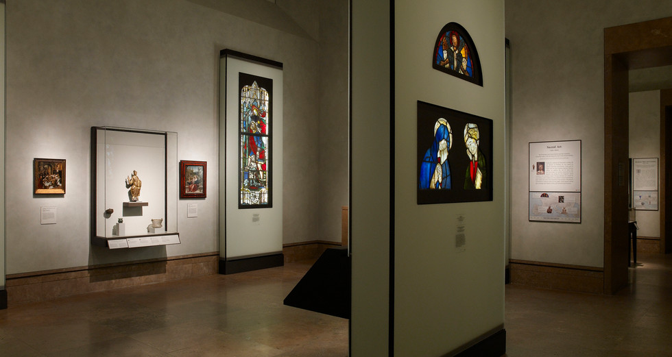 Stained glass cases featured fiber-optic lighting and frosted glass facades.