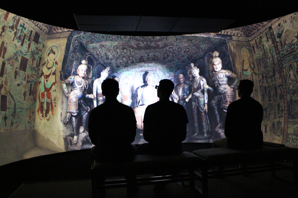 Semi-circular screen allowed for a full immersive experience.