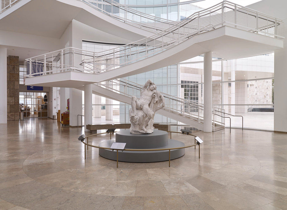 The Sleeping Faun was installed in the Getty Museum Entrance Hall to promote the exhibition.