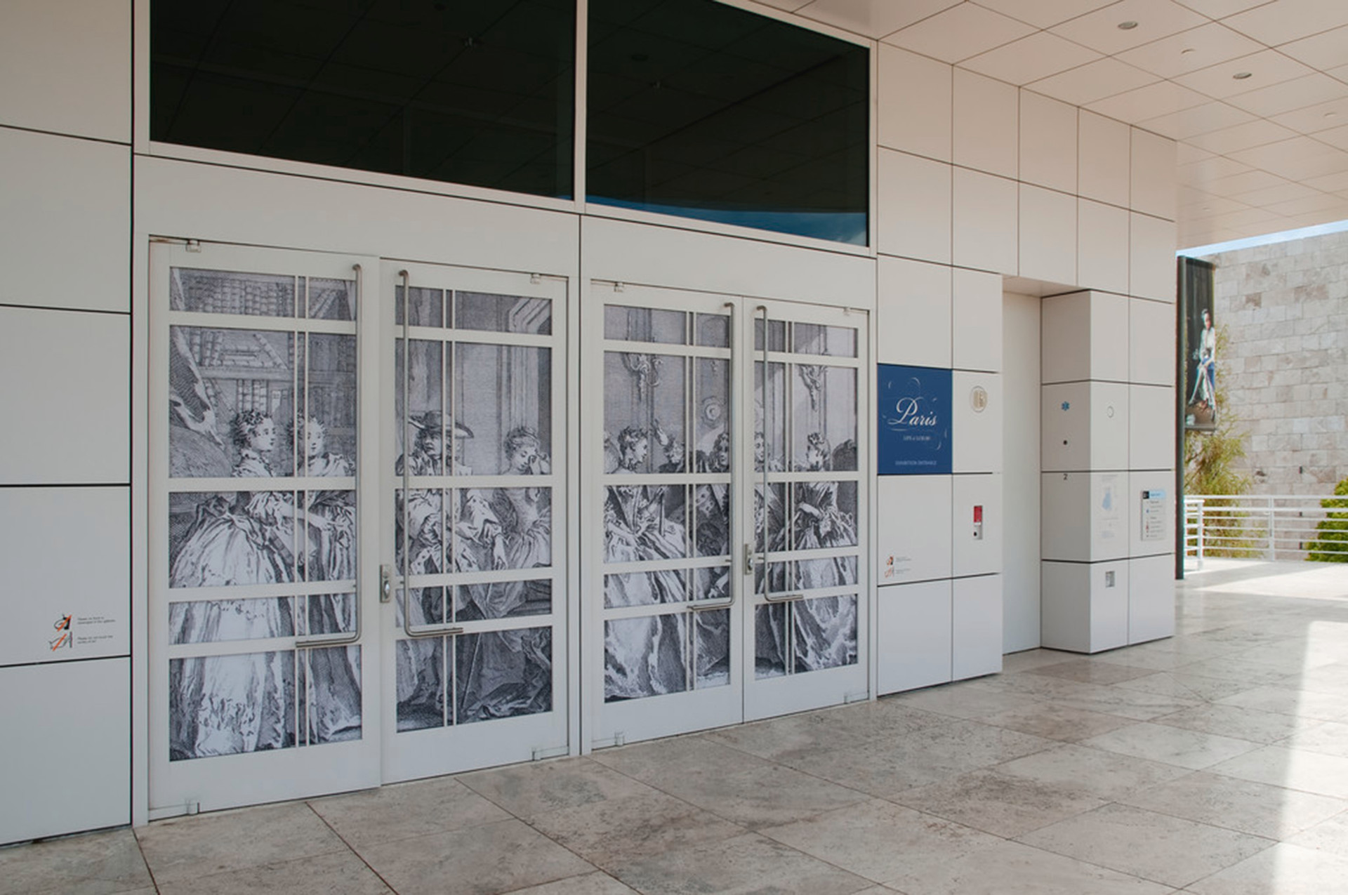 Entrance to the Exhibition Pavilion galleries featured a historical print from the exhibition.