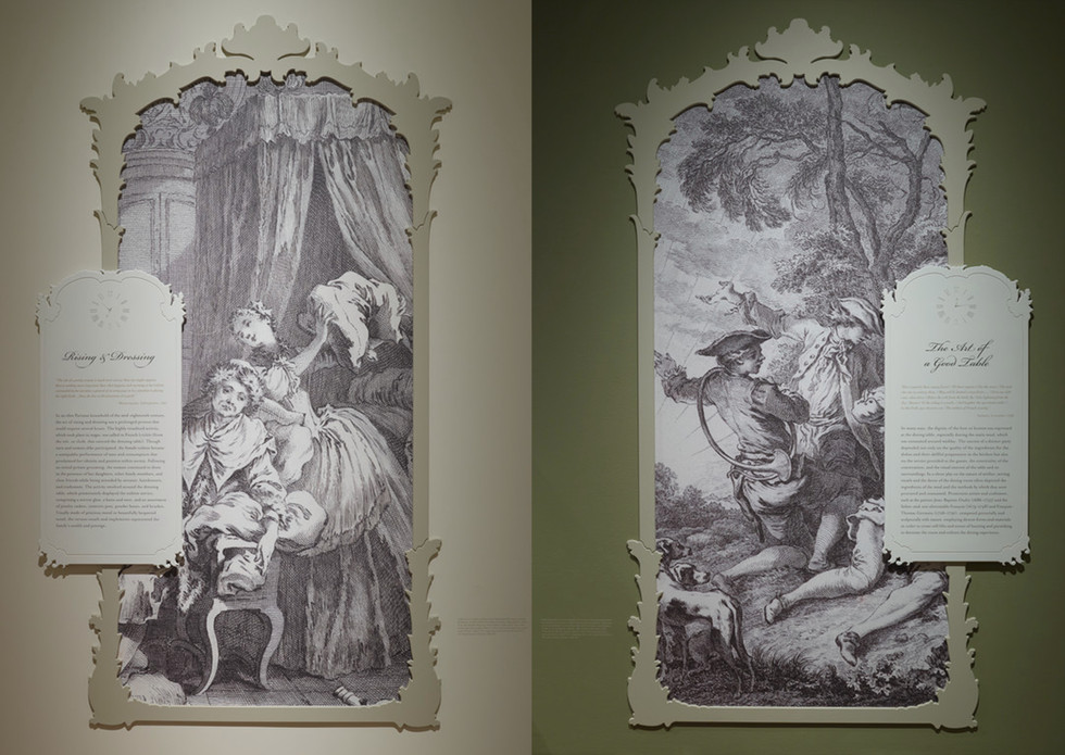 Section texts included stylized clocks and historical prints based on rococo mirror design.