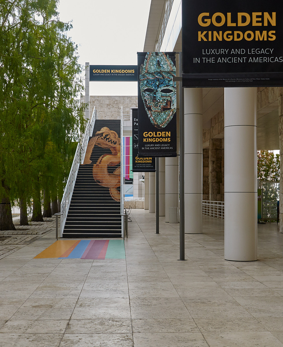 Plaza graphics promoting the Golden Kingdoms exhibition. First time the Getty used a stair graphic as a wayfinding tool.