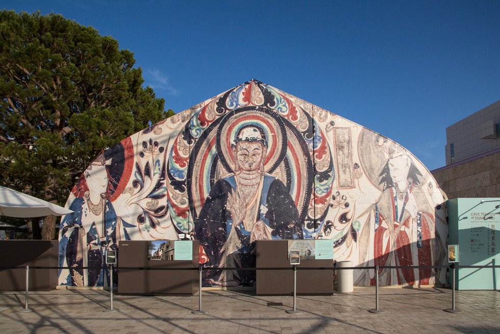 Large murals decorated the ends of the replica cave structure.