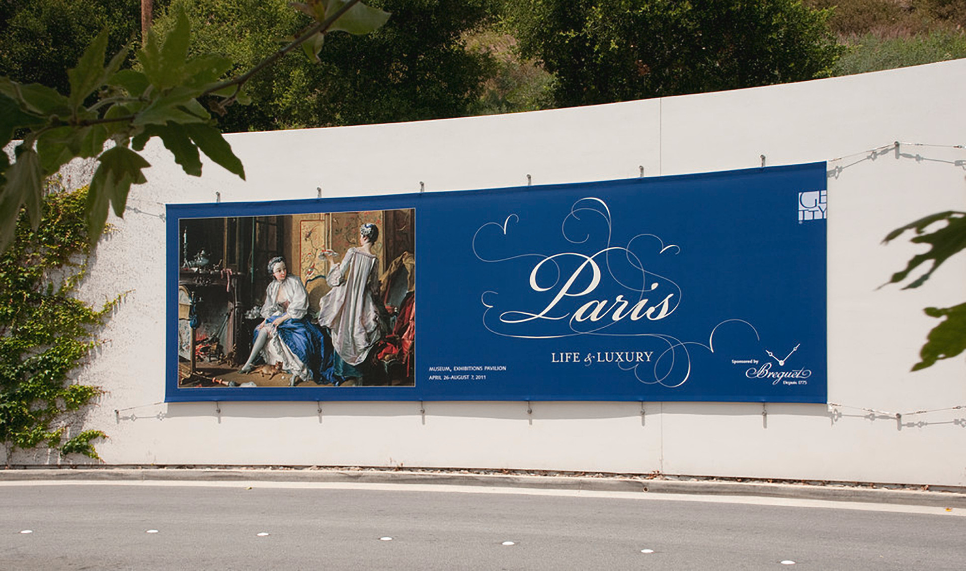 Promotional banner at the entrance to the Getty Center.