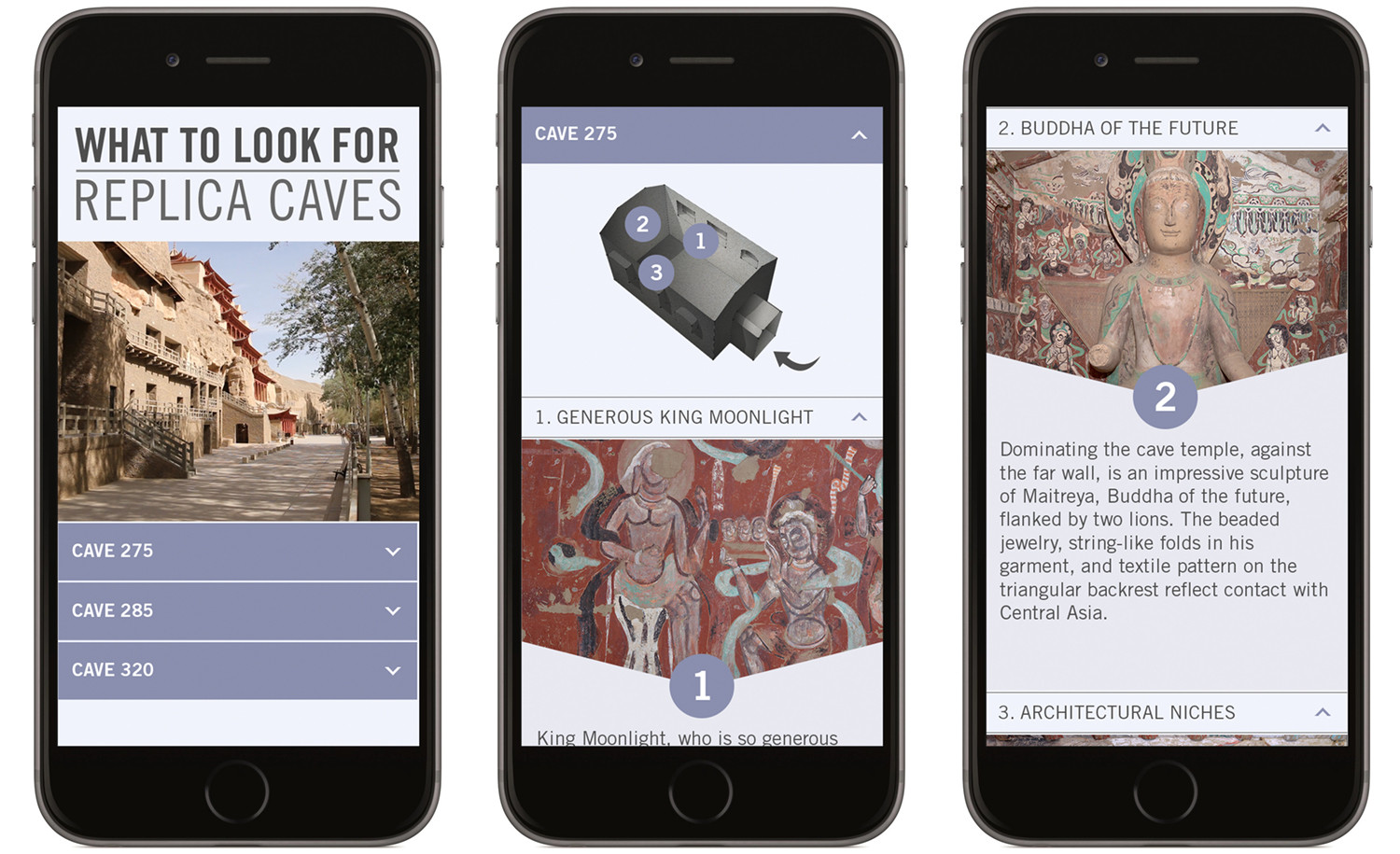 """The """"What To Look For"""" mobile app directed visitors inside the replica caves to specific points of interest."""