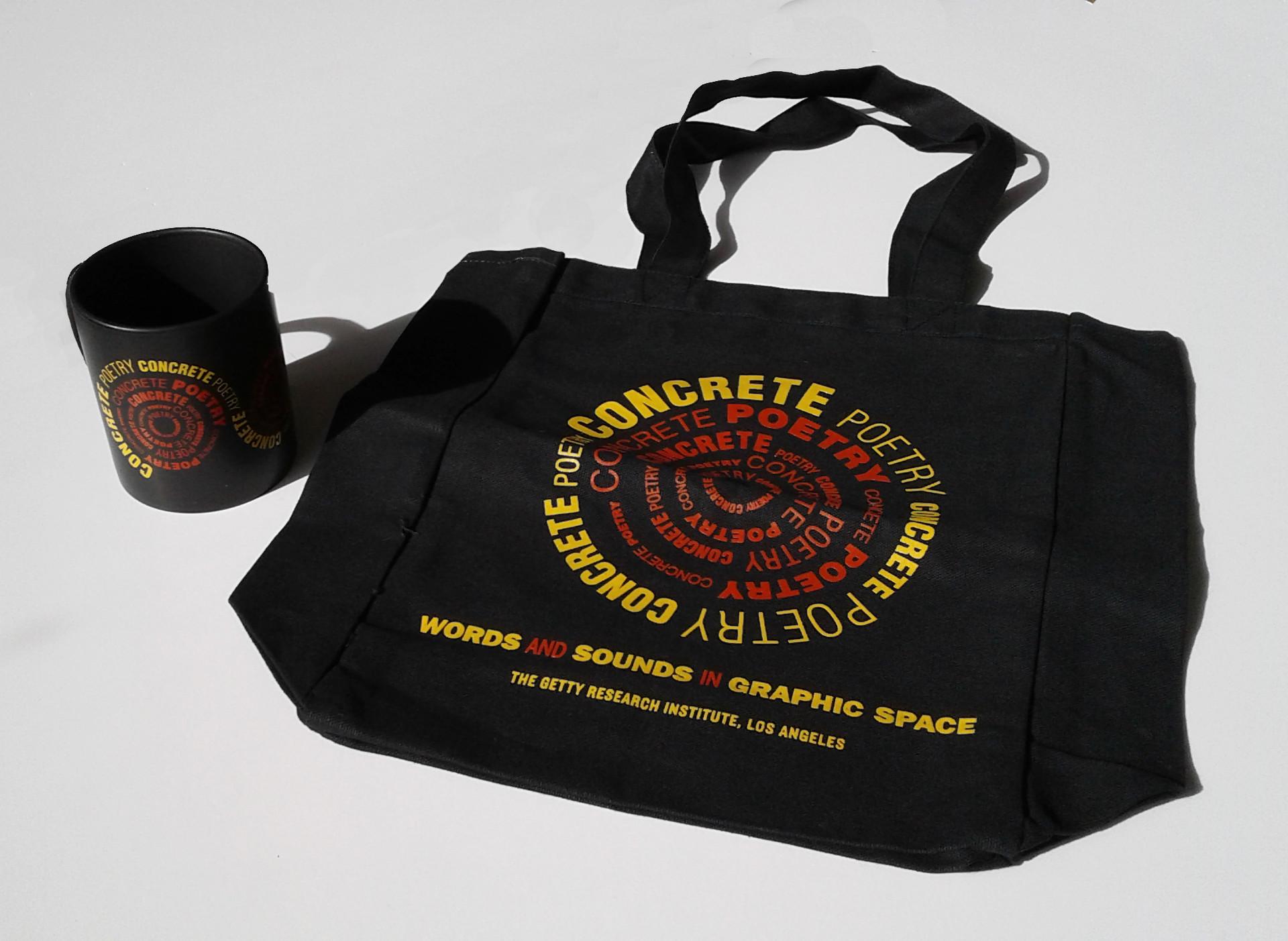 Exhibition mug and tote bag.