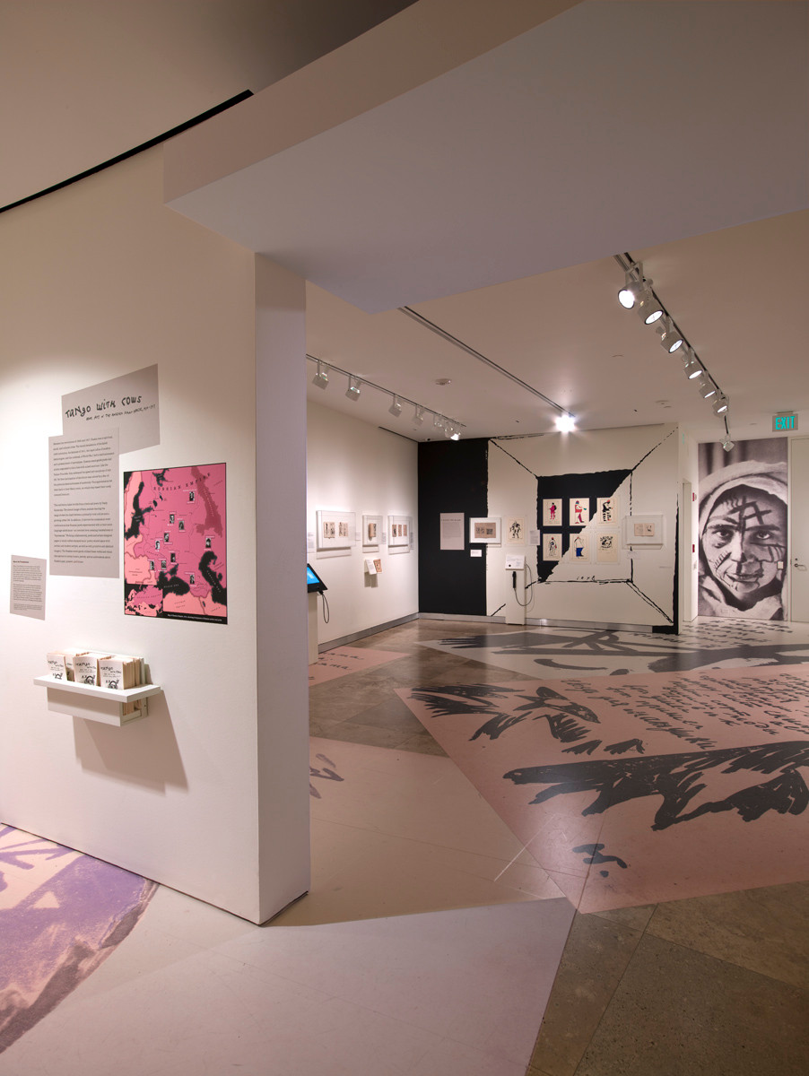 Floor graphics continued into the gallery and connected all of the exhibition sections.
