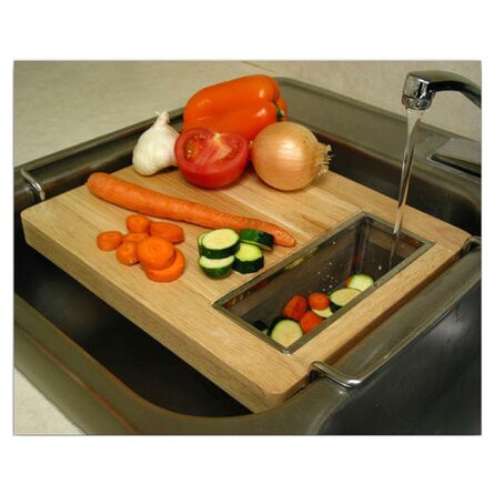 Cutting Board with colander fits over sink
