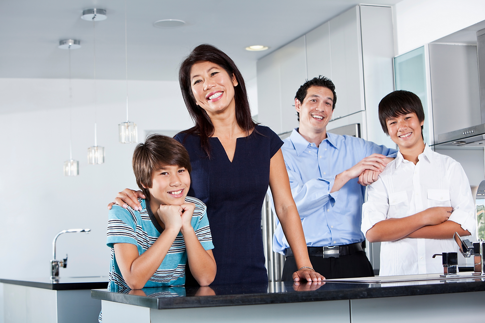 Happy Family two sons, wife and husband in Fabulous Functional Kitchen
