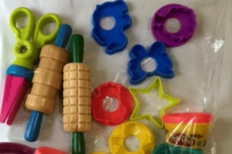 play dough toys contained in resealable bag