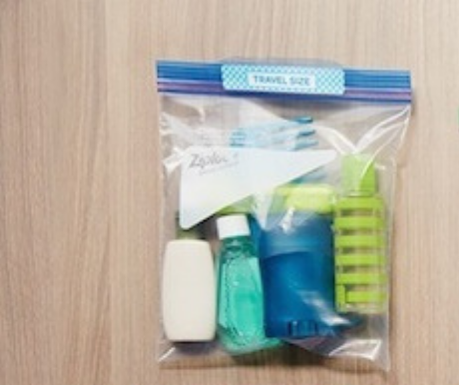 travel size hair products in resealable bag