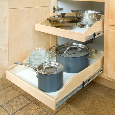Rolling bottom Shelf  with Heavy pots and pans.