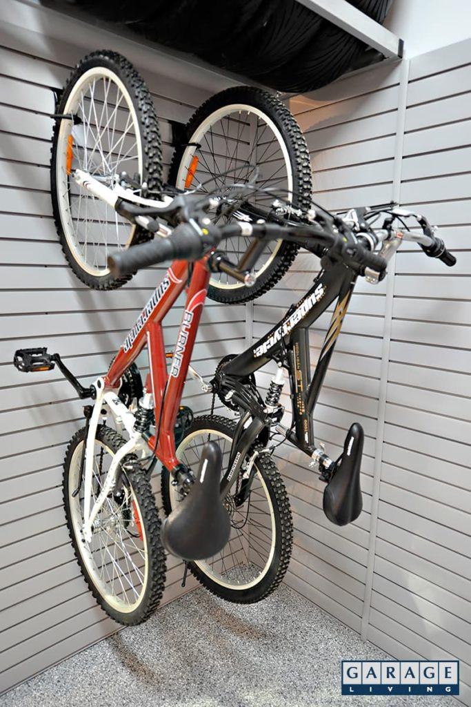 2 bikes hanging in garage