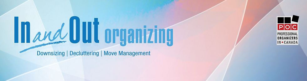 Headline In and Out Organizing downsizing, decluttering, move management