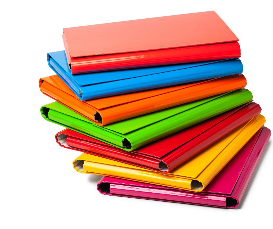 Colourful thin binders
