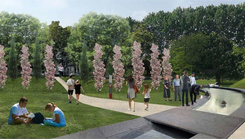 La grande fontana, punto nevralgico del progetto