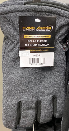 Hand Armor insulated fleece glove w deerskin accent