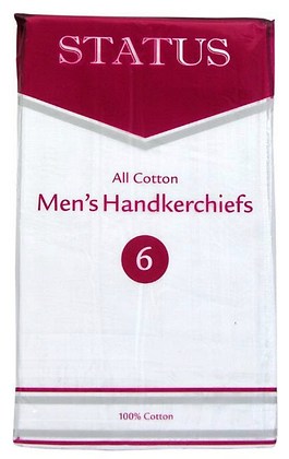 6 Pack of All Cotton Hankerchiefs