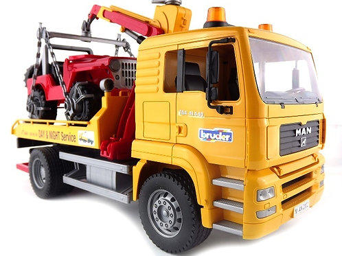 Bruder 02750 Man Tga Tow Truck W/cross Country Vehicle 1/16