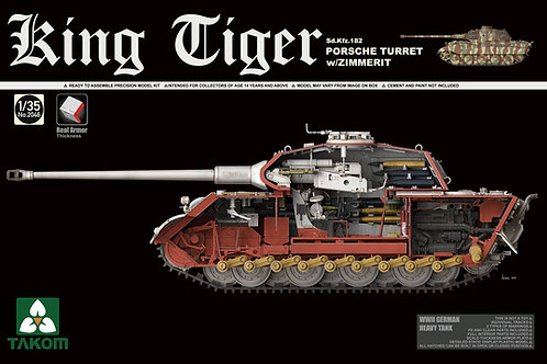 Takom - Sd.Kfz.182 King Tiger Porsche Turret with Zimmerit 1/35