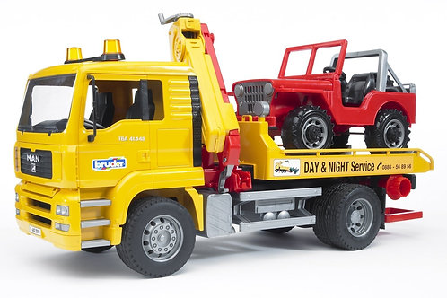 Bruder 02750 - MAN TGA Tow Truck with Jeep SUV 1/16