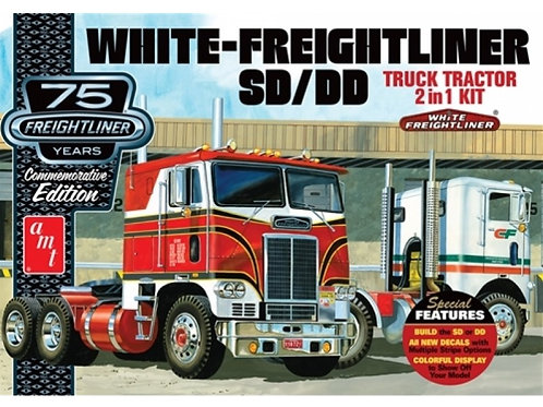 AMT - White Freightliner 2-in-1 SC/DD Cabover Tractor 1/25