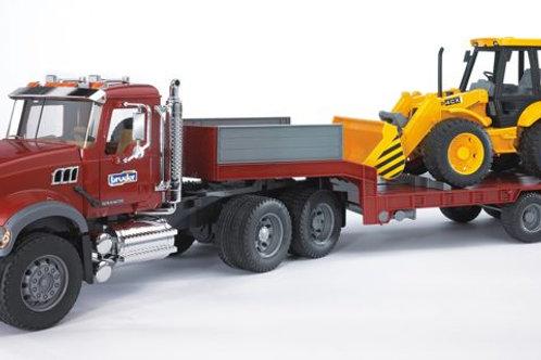 Bruder 02813 - MACK Granite Flatbed Truck Semi JCB