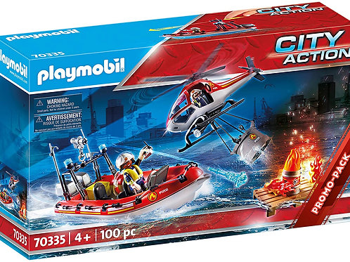 Playmobil 70335 City Action - Fire Service with Helicopter and Boat