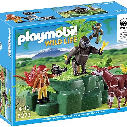 Playmobil 5273 Wild Life - Gorillas And Okapis with Film Maker